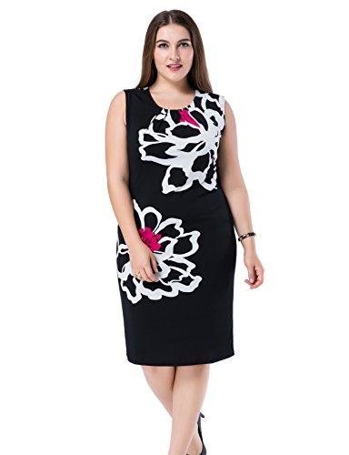 Chicwe Damen Kleid Große Größen aufgedruckte Blumen auf den Ärmeln 48, Weiß/Schwarz (Mutterschaft Aktiven Tank Tops)