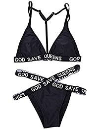 YL De Las Mujeres De La Carta Impresa Conjuntos De Bikinis Negros Vendaje Halterneck Trajes De