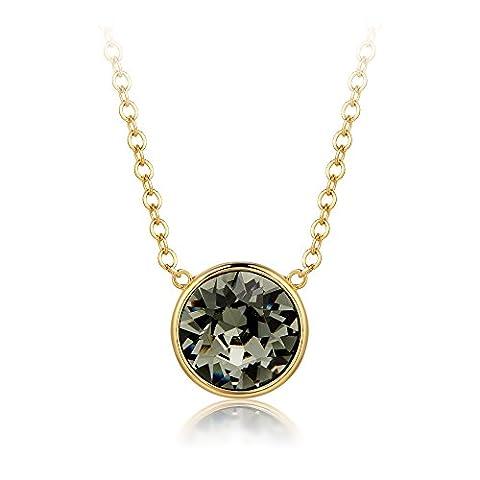 MYJS Bella Drop Necklace Gold Plated with Black Diamond Swarovski Crystals, Birthstone Pendant Gift 16+2