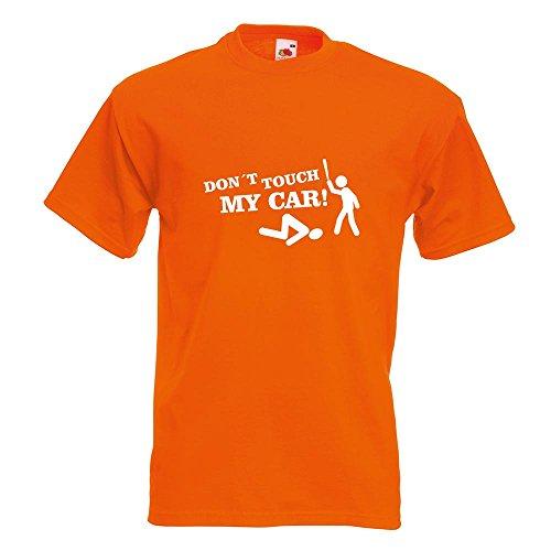 KIWISTAR - Dont touch my Car Motiv1 T-Shirt in 15 verschiedenen Farben - Herren Funshirt bedruckt Design Sprüche Spruch Motive Oberteil Baumwolle Print Größe S M L XL XXL Orange