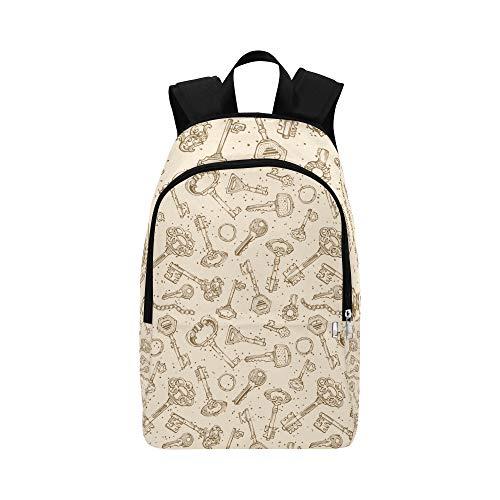 Vintage Style schöne goldene Schlüssel lässig Daypack Reisetasche College School Rucksack für Herren und Frauen -
