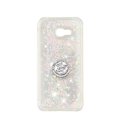 ZCXG Kompatibel Mit Handyhülle Samsung Galaxy A3 2017 Hülle Silikon Transparent Glitzer Stoßfest Slim Liquid Hülle mit Ring Strass Diamant Kratzfest Flexibles Schutzhülle TPU Bumper Case,Rose Gold