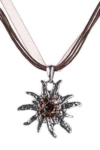 Trachtenkette Edelweiss Trachtenschmuck - Trachten Kette mit feinem Strass in div. Farben - Halskette für Dirndl und Lederhosen (Braun)