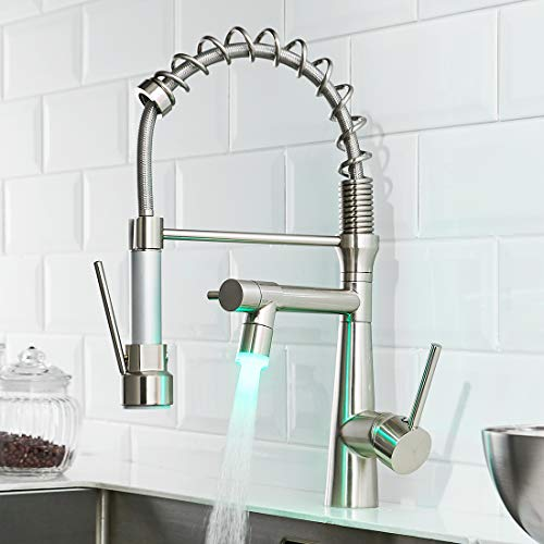 TIMACO LED Küchenarmatur mit Spiralfeder, 360° Schwenkbare Spültischarmaturen mit Zwei Auslauf, Wasserhahn Küchen & Brause ausziehbar- Hochdruck, Gebürstetes Nickel (Küchenarmatur Led)