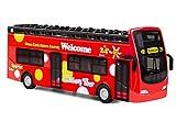 YIJIAOYUN Giro Turistico Rosso Autobus a Due Piani Giocattolo Pressofuso in Lega Open Roof Autobus Veicoli Stampo / Scala 1:32 Pull-Back Autobus con luci e Musica