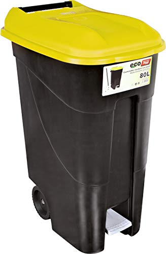 Tayg 259297 Cubo Basura Ruedas + Pedal 80 litros, Negro/Amarillo
