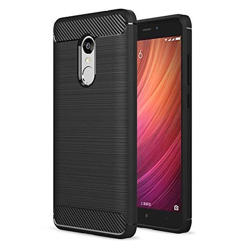 Toppix kompatibel für Xiaomi Redmi Note 4X / Redmi Note 4 Hülle, Handyhülle TPU Soft Case Silikonhülle mit Carbon Optik [Anti Kratzer] Backcover Schutzhülle Cover, Schwarz 4 X Optik