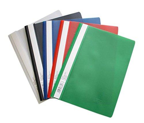 Idena Schnellhefter A5, aus Kunststoff, 30 Stück, 5 Farben, 6 x blau/weiß/gelb/grün/rot