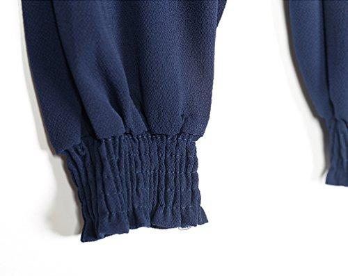 YuanDian Donna Estate Casual Taglie Forti Tinta Unita Chiffon Vita Alta Pantaloni Harem Baggy Sottile Pantaloni Elastico Alla Caviglia ElasticoIn Vita Al Polpaccio Blu