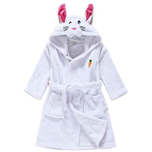 Aiynoes Robe de Chambre Enfant Fille Peignoir de Bain à Capuche Bébé Drap Pyjama Manche Longue Animal Cadeau Noël, Blanc, 110cm(2-3ans/Hauteur 110cm)