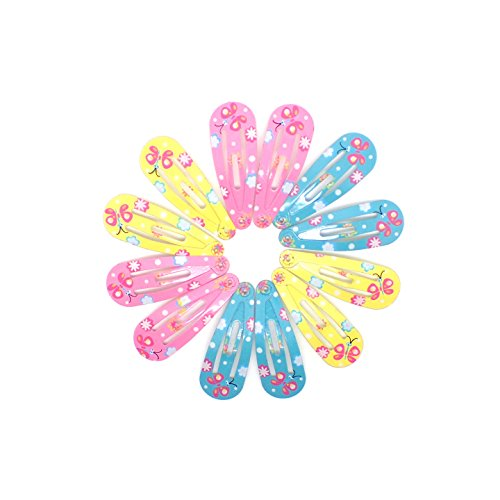 BABY GIRLS HAIR CLIPS GLITTER SMALL MINI SNAP HAIR CLIP LITTLE GIRLS BABIES CLIP TINY CLIPS (12 Pink, Yellow, Turquoise)