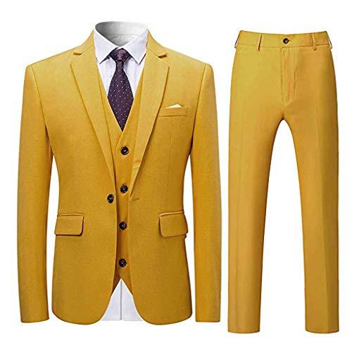serliy3-teiliger Anzug, Herren Blazer Elegant Mehrere Farben und Größen Slim Business Solid Sakkos Hochzeit Jacke Weste & Hosen Herbst Winter
