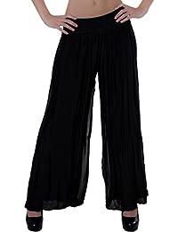 CASPAR KHS010 Damen elegante lange Seiden Chiffon Marlene Hose   Hosenrock  mit hohem Stretch Bund 903877ba8d
