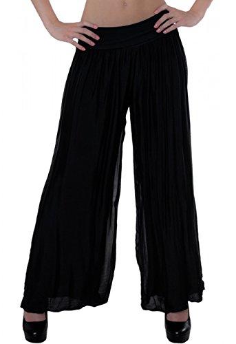 CASPAR KHS010 Damen elegante lange Seiden Chiffon Marlene Hose / Hosenrock mit hohem Stretch Bund, Farbe:schwarz