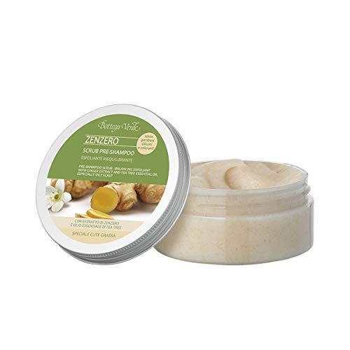 Bottega Verde, Zenzero - Scrub pre-shampoo - esfoliante riequilibrante - con estratto di Zenzero e olio essenziale di Tea tree (150 ml) - purifica la cute e rinforza i capelli - capelli da normali a g
