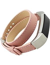 Malloom Recorrido doble cuero genuino reloj pulsera correa para Fitbit Alta (rosa)