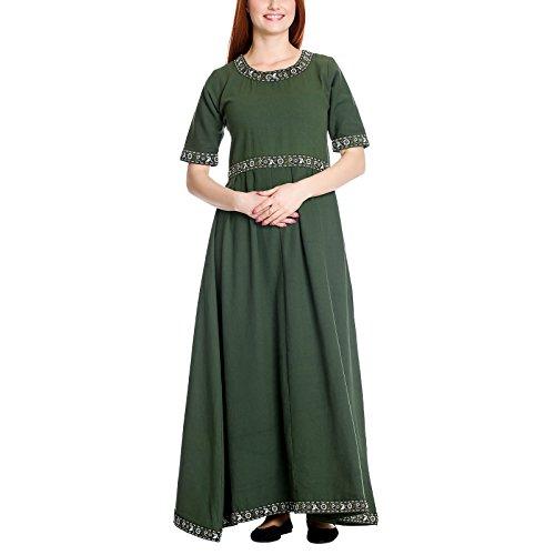Leonardo Carbone Mittelalter Damen Kleid mit Kurzarm und Schnürung grün Baumwolle - S