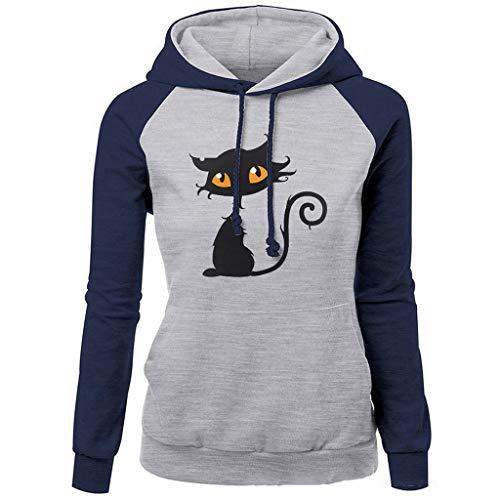 Teen Girl Kostüm Cute - ✿✿JiaMeng Mode Sport Gemütlich Sweatshirt Mode Katze drucken pullis Frühling Herbst Oberteile Frauen Freizeit Camping Kapuzenpullover