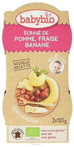 Babybio Bols Ecrasé Pomme Fraise Banane 2x120 g - Lot de 8