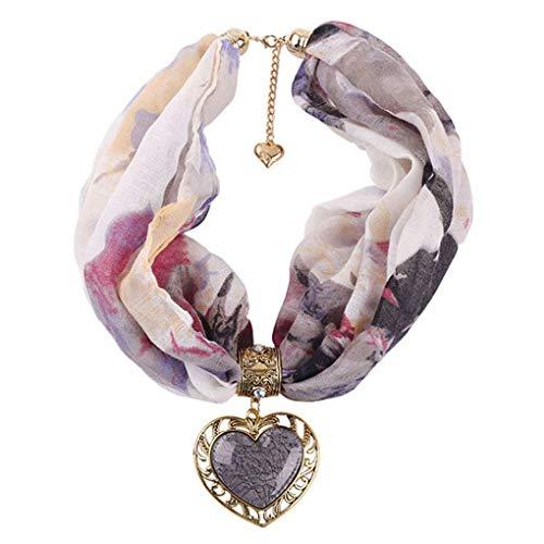 Dorical Damen Schal Halsketten, Schal Perlen Halstuch mit Schmuck/Halskette Modeschmuck Anhänger Schals & Tücher Jahrgang böhmischen Stil mit Schnalle Kette Quasten Schal Halskette(Z02-E,One size) -