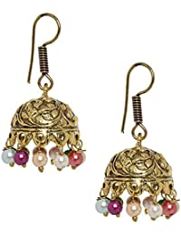 Meraki Jewels Golden Jhumka Earrings With Spectacular Multi Color Bead Work And Antique Finish And Detailing