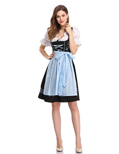 KOJOOIN Damen Dirndl Trachtenkleid Kurz mit Stickerei Exklusives Designer für Oktoberfest - DREI Teilig: Kleid, Bluse, Schürze Schwarz- Hellblau 42
