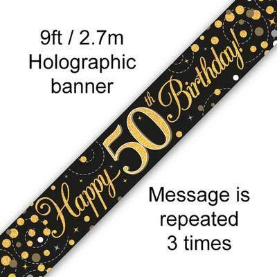 Banner zum 50. Geburtstag, glitzernd, holografisch, 2,7 m, Schwarz/goldfarben