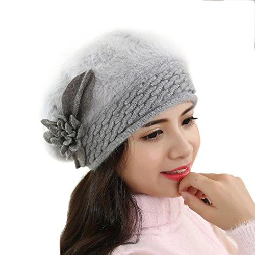 """Tefamore Sombrero de las mujeres Invierno de caliente Gorro de Suave de ganchillo (Tamaño: 60cm-64cm / 23.6-25.1 """", Gris)"""
