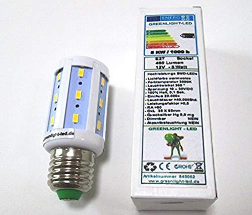 LED E27-5 Watt- warmweiss 3000K- 460Lm, neuer Chip, 10-30 Volt DC, optimal für Gartenhäuser,...