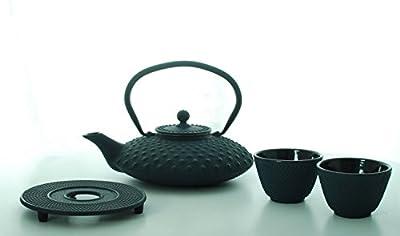 Bredemeijer Asian Jing G002B Théière en fonte bleu - 1,25 Litre Dimple Structure en fonte avec dessous de théière, 2 tasses à thé