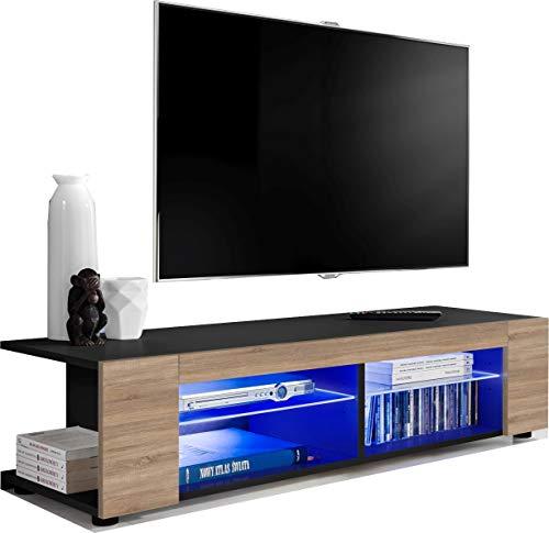 ExtremeFurniture T37 TV Lowboard, Karkasse in Schwarz Matt/Front in Sonoma Eiche mit LED in Blau