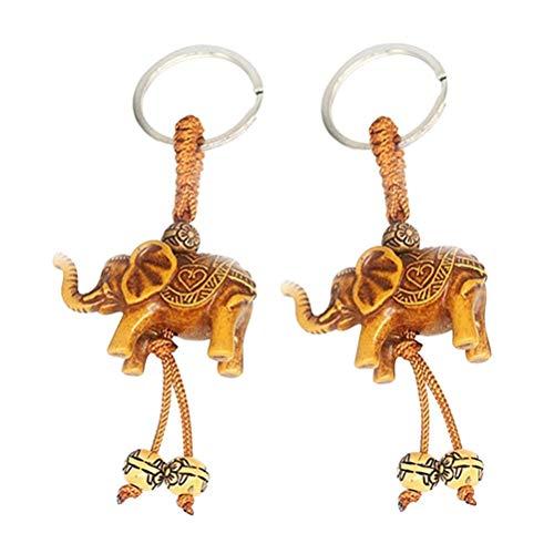 Ogquaton 2 unids Elefante Talla Lucky Colgante Llavero