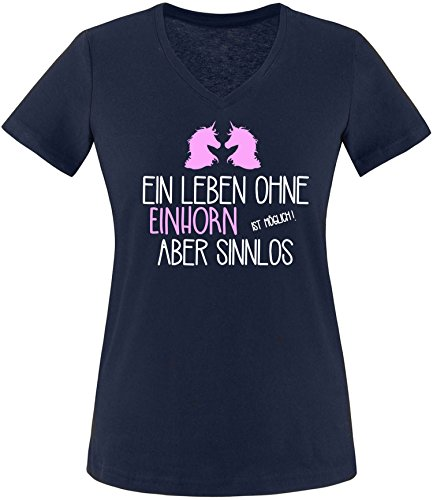 EZYshirt® Ein Leben ohne Einhorn ist möglich ! Aber sinnlos Damen V-Neck T-Shirt Navy/Weiß/Rosa