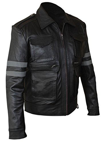 Resident Evil 6Leon Kennedy Uomo 100% Vera Pelle di Alta Qualità Nero Black Large