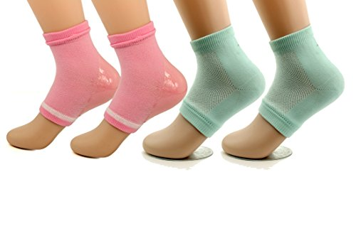 Makhry 2 Pairs Intensive Moisturizing Gel Heel Socks for Dry Hard Cracked Skin Open Toe Recovery Socks Day Night Care fits U.S. Women Size 4-8 (Immer Feuchtigkeitsspendende Feuchtigkeitscreme)