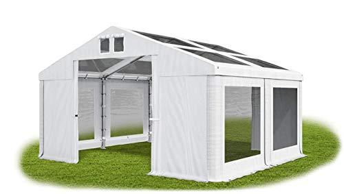 Das Company Transparentes Partyzelt 4x4m wasserdicht weiß Zelt Dachplane modular 580g/m² PVC hochwertig Gartenzelt Summer MS