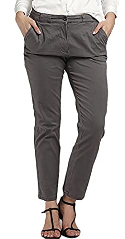 Fulok Womens Ankle Mid Waist Classic Solid Pocket Casual Pants Gray XL