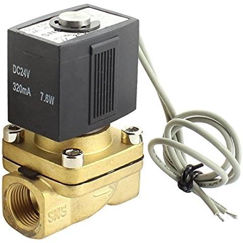DC24V 320mA 7.6W 3 / 8PT Latón de 2 maneras de gas de agua eléctrico de la válvula solenoide