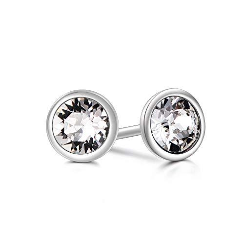 Ohrstecker 925 Silber Zirkonia Damen Ohrringe Stecker mit Swarovski Kristallen (4mm)