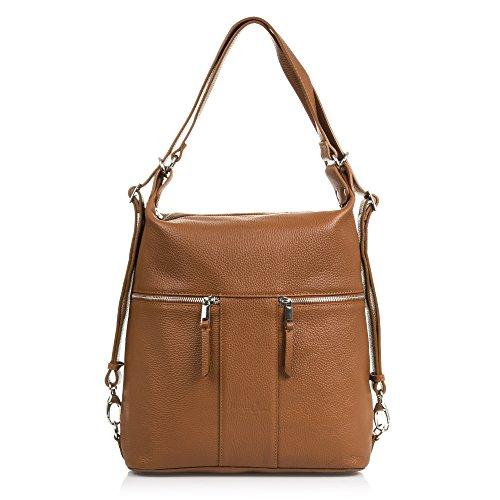 FIRENZE ARTEGIANIDamenhandtasche aus echtem Leder Frontreißverschluss Convertible Rucksack.Umhängetasche für Frauen. Rucksack-Tasche Made in ITALY.VERA PELLE ITALIANA 30x35x13cm.Farbe:BRAUN