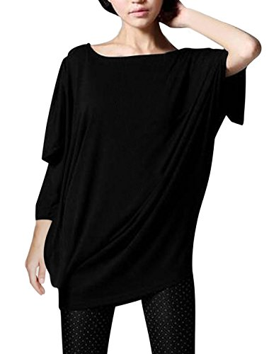 allegra-k-lady-batwing-sleeve-loose-fit-tunic-top-l-black