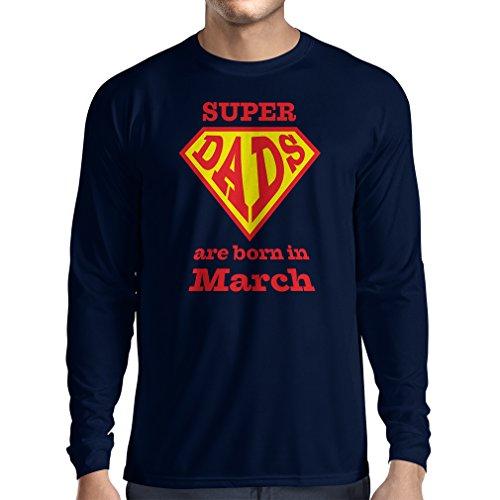 """T-Shirt mit langen Ärmeln """"Super-Väter sind im März geboren"""" Geburtstags-T-Shirts Geschenke Blau Mehrfarben"""
