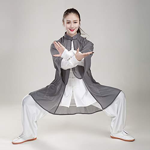 CHXY Tai Chi Anzug Herren,Chinoiserie Traditionell Shaolin Kung Fu Kampfkunst Qi Gong Kostüm Unisex Lange Ärmel Chiffon Set 3-teiliges Set,Grey-L