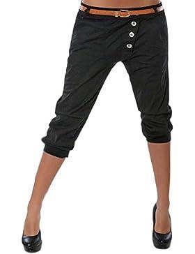 LaoZanA Mujer Pantalones Chinos 3/4 Harem Pantalones Color Sólido Shorts Sin Correa Pantalones Cortos Negro XL