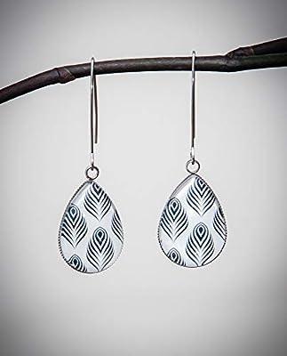 Boucles d'oreilles longues plume, blanc et noir, cabochon goutte en verre, long crochet acier inoxydable argent