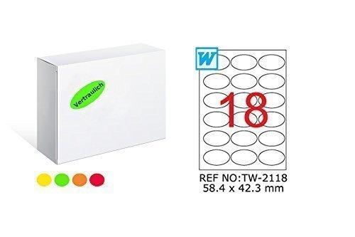 TANEX TW de 2118fluorescentes etiquetas Amarillo 58,4x 42,3mm-redondeada de 25Bl. A4