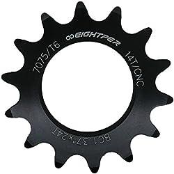 Piñon Fijo para Bicicleta Fixie Single Speed Ruder Berna 14T Aluminio Color Negro Mecanizado CNC 3608