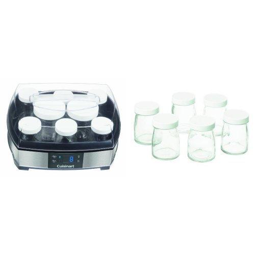 Cuisinart YM400E Joghurt- und Frischkäsebereiter (40 Watt), silber mit YM401E Glasgefäße 6x125ml für YM400E