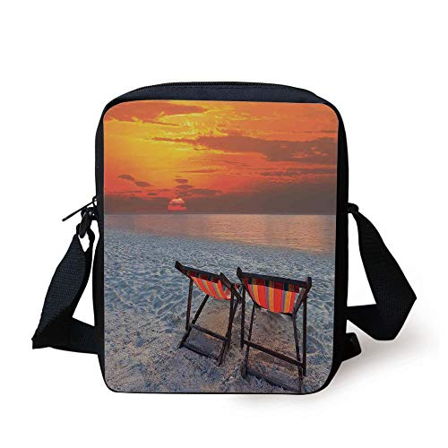 Red Beach Chair (Seaside Decor,Couples Chairs on Sandy Beach with Colorful Sky Scenery Seaside Nature Picture,Orange Red Gray Print Kids Crossbody Messenger Bag Purse)