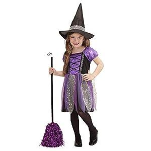 Widmann 0017V - Niño traje de vestido de pequeña bruja, sombrero, tamaño 110 cm, multicolor